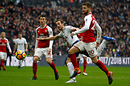 Harry Kane of Tottenham Hotspur © heads a chance at goal just wide. Premier league match, Tottenham Hotspur v Arsenal at Wembley Stadium in London on Saturday 10th February 2018.<br /> pic by Steffan Bowen, Andrew Orchard sports photography.