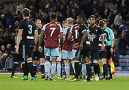 The players shake hands at full time during the Pre-Season Friendly match between Burnley and Celta Vigo at Turf Moor, Burnley, England on 1 August 2017. Photo by Paul Thompson.