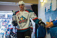 KELOWNA, CANADA - JANUARY 7: Cal Foote #25 of the Kelowna Rockets fist pumps fans on his way to the dressing room after second period against the Kamloops Blazers on January 7, 2017 at Prospera Place in Kelowna, British Columbia, Canada.  (Photo by Marissa Baecker/Shoot the Breeze)  *** Local Caption ***