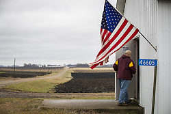 David Kahle walks into Sibley Town Hall on Election Day Tuesday, November 6, 2018 in Sibley County, Minn. Kahle, a farmer and township clerk, voted, but also baked cookies for all the voters and election officials. Photo by Leila Navidi/Minneapolis Star Tribune/TNS/ABACAPRESS.COM