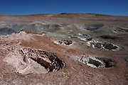 Pink Mud Pools in Sol y Manana Geyser field in the Bolivian Altiplano
