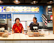 Yama's Fish Market, open since 1980, serves up Hawaiian Plate Lunch with offerings such as Lau Lau, Lomi Lomi Salmon, Ahi Poki and fresh Poi..Owner Anne T. Yamamoto presides.