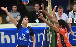 Dario Savicic vs Thomas Delano at finals of Slovenian volleyball cup between OK ACH Volley and OK Salonit Anhovo Kanal, on December 27, 2008, in Nova Gorica, Slovenia. ACH Volley won 3:2.(Photo by Vid Ponikvar / SportIda).