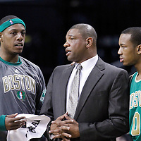 09 March 2012: Boston Celtics head coach Doc Rivers talks to Boston Celtics small forward Paul Pierce (34) and Boston Celtics shooting guard Avery Bradley (0) during the Boston Celtics 104-86 victory over the Portland Trail Blazers at the TD Banknorth Garden, Boston, Massachusetts, USA.