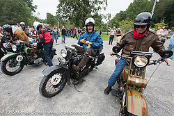 Richard Duda and Steve DeCosa arrive at the  Hosted lunch stop at Cyclemos Museum in Red Boiling Springs, TN during Stage 4 of the Motorcycle Cannonball Cross-Country Endurance Run, which on this day ran from Chatanooga to Clarksville, TN., USA. Monday, September 8, 2014.  Photography ©2014 Michael Lichter.
