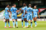Goal 0-1 - Jamille Matt (14) of Forest Green Rovers celebrates scoring the opening goal during the Pre-Season Friendly match between Yeovil Town and Forest Green Rovers at Huish Park, Yeovil, England on 31 July 2021.