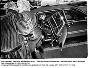 Lynn Paulson & Georgette Mosbacher ( in car. )  Leaving Georgette Mosbacher's  birthday party. Harley Davidson Cafe. Manhattan. 24/1/94. Film 9427f21<br />© Copyright Photograph by Dafydd Jones<br />66 Stockwell Park Rd. London SW9 0DA<br />Tel 0171 733 0108