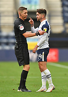 Preston North End's Sean Maguire has words with Referee Matthew Donohue<br /> <br /> Photographer Dave Howarth/CameraSport<br /> <br /> The EFL Sky Bet Championship - Preston North End v Stoke City - Saturday 26th September 2020 - Deepdale - Preston <br /> <br /> World Copyright © 2020 CameraSport. All rights reserved. 43 Linden Ave. Countesthorpe. Leicester. England. LE8 5PG - Tel: +44 (0) 116 277 4147 - admin@camerasport.com - www.camerasport.com