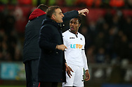 Renato Sanches of Swansea city gets instructions from the coaches during a break in play. Premier league match, Swansea city v Tottenham Hotspur at the Liberty Stadium in Swansea, South Wales on Tuesday 2nd January 2018. <br /> pic by  Andrew Orchard, Andrew Orchard sports photography.