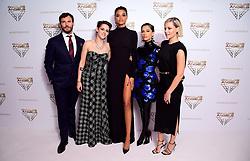 Sam Claflin, Kristen Stewart, Ella Balinska, Naomi Scott and Elizabeth Banks (left-right) attending the Charlie's Angels UK Premiere at the Curzon Mayfair, London.