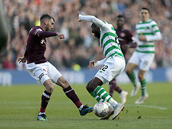 Heart of Midlothian's Michael Smith battle for the ball with Celtic's Odsonne Edouard (R) during the Betfred Cup semi final match at BT Murrayfield Stadium, Edinburgh. PRESS ASSOCIATION Photo. Picture date: Sunday October 28, 2018. See PA story SOCCER Hearts. Photo credit should read: Graham Stuart/PA Wire. EDITORIAL USE ONLY