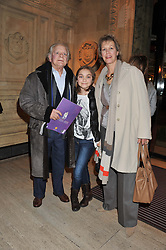 SIR DAVID JASON, his wife GILL HINCHCLIFFE and daughter SOPHIE MAE at Cirque du Soleil's VIP night of Kooza held at the Royal Albert Hall, London on 8th January 2013.