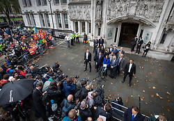 © Licensed to London News Pictures. 24/09/2019. London, UK. GINA MILLER stands with her legal team as she speaks to reporters outside The Supreme Court in London after it was ruled that Boris Johnson's suspension of Parliament was illegal. The case has been brought by remain campaigner Gina Miller, with support from former British Prime Minister John Major. Photo credit: Peter Macdiarmid/LNP