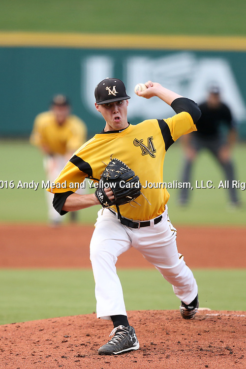 02 June 2016: Millersville's Cordell Shannon. The Millersville University Marauders played the Lander University Bearcats in Game 12 of the 2016 NCAA Division II College World Series  at Coleman Field at the USA Baseball National Training Complex in Cary, North Carolina. Millersville won the semifinal game 4-2 and advanced to the championship series.
