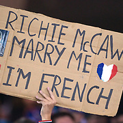 A sign in the crowd during the New Zealand V France, Pool A match during the IRB Rugby World Cup tournament. Eden Park, Auckland, New Zealand, 24th September 2011. Photo Tim Clayton...