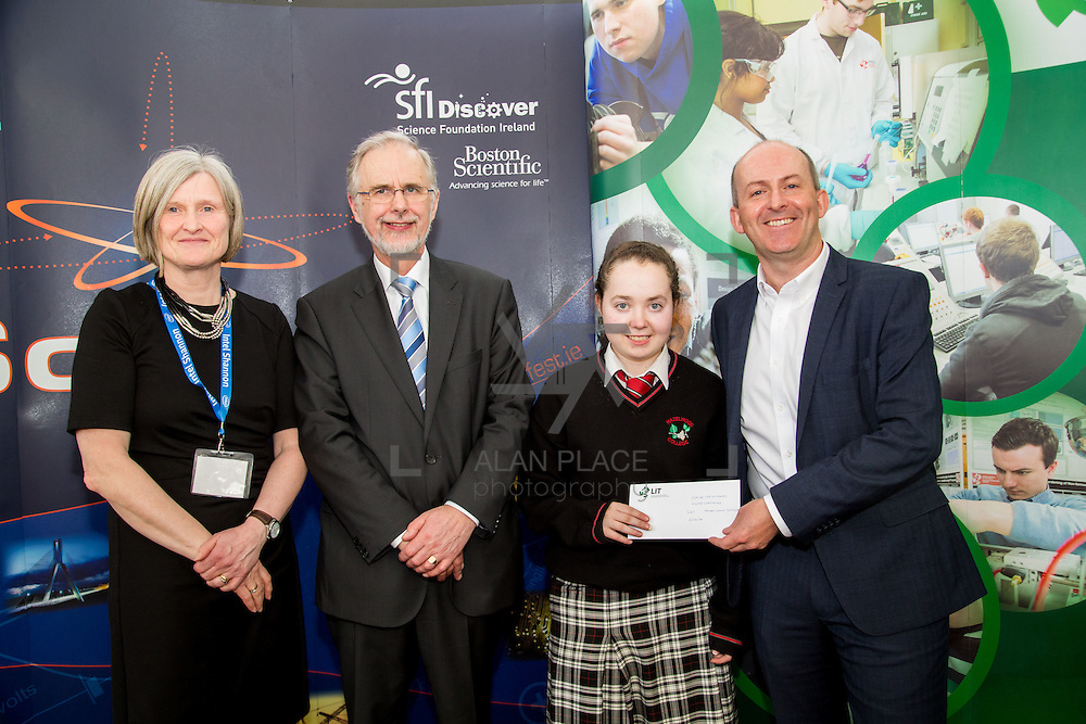 27.04.2016.          <br />  Kalin Foy and Ciara Coyle win SciFest@LIT<br /> Kalin Foy and Ciara Coyle from Colaiste Chiarain Croom to represent Limerick at Ireland's largest science competition.<br /> <br /> Hazelwood College student, Elaine Kennedy's project, Spraying is a hazard on the farm, Know what your doing and don't cause harm!, was highly commended in the Life Sciences Category.  Elaine Kennedy is pictured with George Porter, SciFest and Brian Aherne, Intel.<br /> <br /> Of the over 110 projects exhibited at SciFest@LIT 2016, the top prize on the day went to Kalin Foy and Ciara Coyle from Colaiste Chiarain Croom for their project, 'To design and manufacture wireless trailer lights'. The runner-up prize went to a team from John the Baptist Community School, Hospital with their project on 'Educating the Youth of Ireland about Farm Safety'. Picture: Fusionshooters