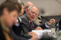 """26 MAR 2012, BERLIN/GERMANY:<br /> Wolfgang Schaeuble, CDU, bundesfinanzminister, Kongress der CDU/CSU-Bundestagsfraktion """"Krisen vorbeugen - Finanzaufsicht staerken"""", Sitzungssaal CDU/CSU-Bundestagsfraktion, Deutscher Bundestag<br /> IMAGE: 20120326-01-022<br /> KEYWORDS: Wolfgang Schäuble"""