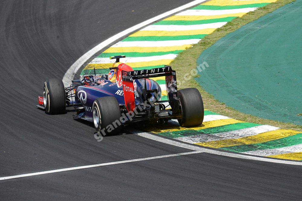 Sebastian Vettel (Red Bull-Renault) during the 2014 Brazilian Grand Prix at Interlagos in Sao Paulo. Photo: Grand Prix Photo