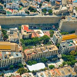 Aerial view of Ibiza Port, Spain, Evissa Town