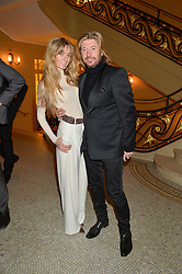 NICKY CLARKE and KELLY SIMPKIN at a reception to celebrate the Debrett's 500 2015 - a recognition of Britain's 500 most influential people, held at The Club at The Cafe Royal, 68 Regent Street, London on 26th January 2015.