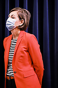 30 JULY 2020 - DES MOINES, IOWA: KIM REYNOLDS, the Governor of Iowa, wearing a face mask during a press conference at the State Capitol in Des Moines. Gov. Reynolds stressed the importance of in person education but laid out the guidelines under which Iowa would allow on line instruction. She said that Iowa schools would have to see a coronavirus (SARS-CoV-2) positivity rate of at least 15% in the county where they are located before they could request to transition a school building or district to fully online learning. Many Iowa teachers and students object to the Governor's insistence on in person education, saying it is to dangerous and the risk of COVID-19 infection too high to force schools to reopen.   PHOTO BY JACK KURTZ