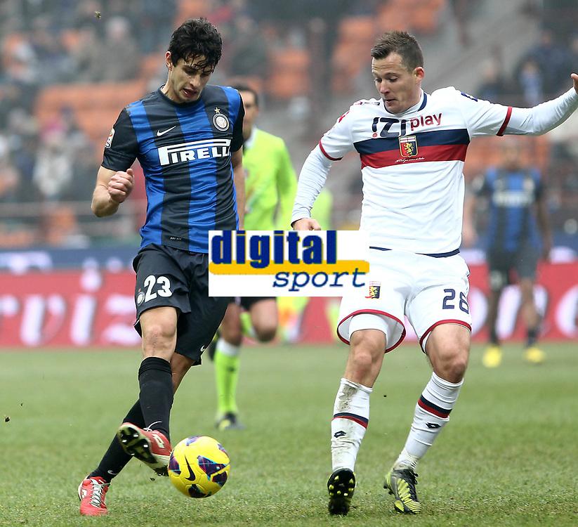 """Andrea Ranocchia Inter Daniel Tozser Genoa.Milano 22/12/2012 Stadio """"S.Siro"""".Football Calcio Serie A 2012/13.Inter v Genoa.Foto Insidefoto Paolo Nucci."""