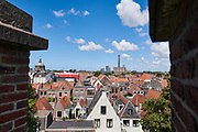 Uitzicht vanaf de Burcht van Leiden over de stad Leiden   View from the Castle of Leiden over the city of Leiden