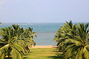 View over beach to ocean Amaya Beach Resort and Spa hotel, Pasikudah Bay, Eastern Province, Sri Lanka, Asia