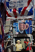 Royal family souvenirs and merchandise on sale outside a tourist trinket shop as the royal town of Windsor gets ready for the royal wedding between Prince Harry and his American fiance Meghan Markle, on 14th May 2018, in London, England.