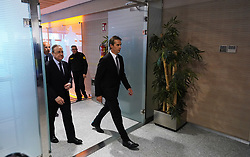 June 14, 2018 - Madrid, Spain - Julen Lopetegui (R) arrives at a press conference with Real Madrid CF president Florentino Perez (L) before being announced as the new Real Madrid head coach at Santiago Bernabeu Stadium. (Credit Image: © Manu Reino/SOPA Images via ZUMA Wire)
