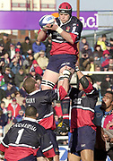 Twickenham. Surrey, UK., 23 February 2002, Zurich Premiership Rugby,  The Stoop Memorial Ground, Mark Cornwall, collects the line out ball., during the, NEC Harlequins vs Gloucester Rugby,<br /> [Mandatory Credit: Peter Spurrier/Intersport Images],