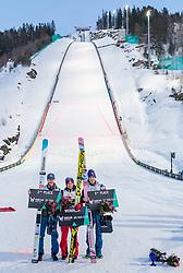 18.03.2018, Vikersundbakken, Vikersund, NOR, FIS Weltcup Ski Sprung, Raw Air, Vikersund, Finale, im Bild Robert Johansson (NOR, 2. Platz), Gesamtsieger Kamil Stoch (POL), Andreas Stjernen (NOR, 3. Platz)// 2nd placed Robert Johansson of Norway, Overall Winner Kamil Stoch of Poland, 3rd placed Andreas Stjernen of Norway during the 4th Stage of the Raw Air Series of FIS Ski Jumping World Cup at the Vikersundbakken in Vikersund, Norway on 2018/03/18. EXPA Pictures © 2018, PhotoCredit: EXPA/ JFK