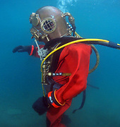 US Navy Mark-V helmet commercial diver at Dutch Springs, Scuba Diving Resort in Bethlehem, Pennsylvania