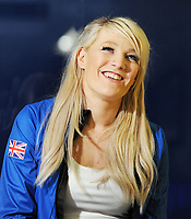 Team GB PyeongChang 2018 Winter Olympics Homecoming - Heathrow Airport, Terminal Five<br /> <br /> Elise Christie of GB talks to media after arriving home from the Games.<br /> <br /> COLORSPORT/ANDREW COWIE