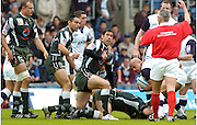 2005 European Challenge Cup Final Sale Sharks v Pau, ENGLAND, 21.05.2005, Pau centre, Jean-Charles Cistacq, protests his incense as referee Alan Lewis awards a penalty to Sale<br /> email images@intersport-images