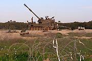Israel, Gaza border, An Idf tank parked in a field base near the Gaza-Israeli eastern border. On Feb 28, 2008.
