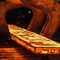 10/06/16 Teesside - British Steel - large hot rolled steel bar being transfrred from the mill