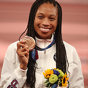TOKYO, JAPAN August 6:   Allyson Felix of the United States with her bronze medal from the 400m for women making her the most decorated female olympic runner during the Track and Field competition at the Olympic Stadium  at the Tokyo 2020 Summer Olympic Games on August 6th, 2021 in Tokyo, Japan. (Photo by Tim Clayton/Corbis via Getty Images)
