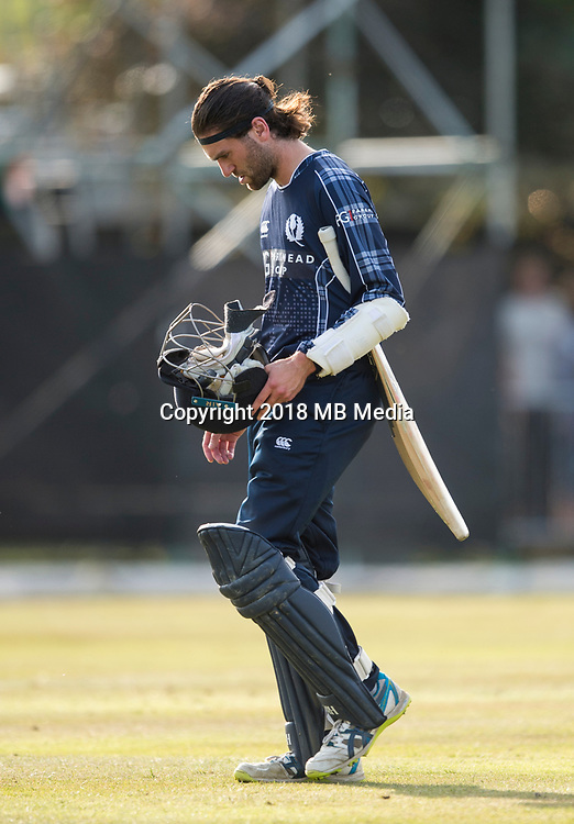 EDINBURGH, SCOTLAND - JUNE 12: Scotland new boy,Dylan Budge, out for 24 in the first of 2 Twenty20 Internationals at the Grange Cricket Club on June 12, 2018 in Edinburgh, Scotland. (Photo by MB Media/Getty Images)