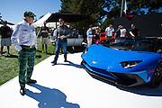 August 14-16, 2012 - Pebble Beach / Monterey Car Week. Jackie Stewart takes in the Aventador SV