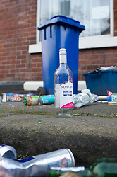 Bottles and cans spilled from a recycling blue bin.