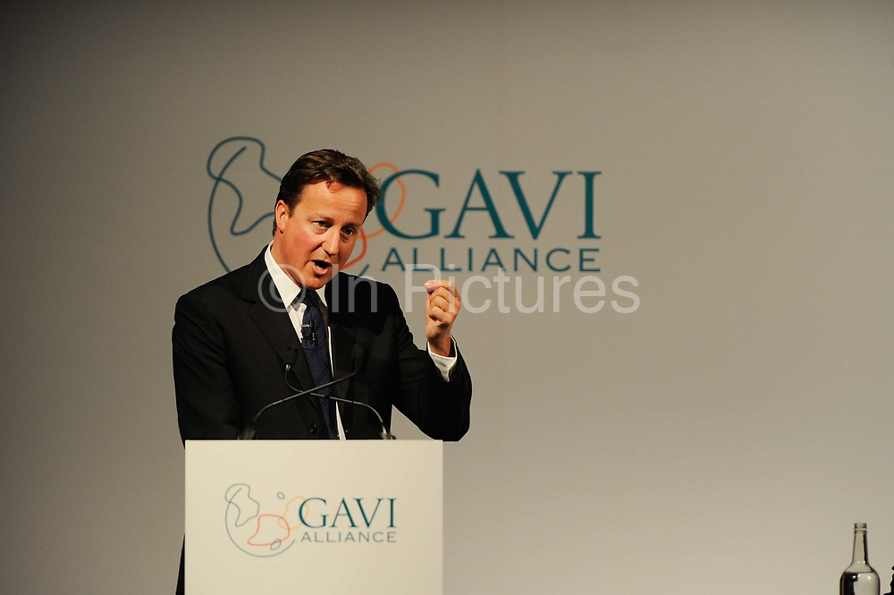 British Prime Minister David Cameron speaks to Global leaders gather for the Gavi Alliance conference to drive a new, forceful impetus to immunisation efforts in the world's poorest countries on 13th June 2016 in London, United Kingdom. Gavi, the Vaccine Alliance is a public-private global health partnership committed to increasing access to immunisation in poor countries. The organisation brings together developing country and donor governments, the World Health Organization, UNICEF, the World Bank, the vaccine industry in both industrialised and developing countries, research and technical agencies, civil society, the Bill & Melinda Gates Foundation and other private philanthropists.