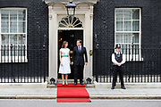 Prime Minister David Cameron and his wife Samantha prepare to meet Britain's Prince Philip and Queen Elizabeth before a lunch to celebrate the Prince's 90th birthday at number 10 Downing Street in London.