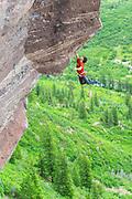 Jon Cardwell on Judas Goat 5.13d/.14a, First Band, Redstein Crag, Redstone, Colorado