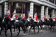 Life Guards on horseback after The Lord Mayor's Show, one of the longest-established annual events, dating back to the 16th century. Held within the City of London, UK.