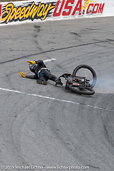 Ken Curtis crashing his 61 ci racer in turn four of the Sons of Speed Vintage Motorcycle Races at New Smyrina Speedway. New Smyrna Beach, USA. Saturday, March 9, 2019. Photography ©2019 Michael Lichter.