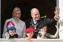 Prince Albert II and Princess Charlene of Monaco with their children Jacques and Gabriella, Kaya Rose Wittstock are attending the military procession held in the Palace Square, during the National Day ceremonies, Monaco Ville (Principality of Monaco), on november 19th, 2019. Photo by Marco Piovanotto/ABACAPRESS.COM