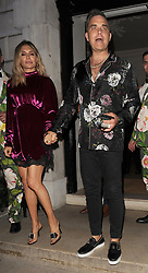 Robbie Williams and wife Ayda Field enjoy a night out at Annabel's private members club in Mayfair. The X Factor judges left just before midnight.<br /><br />25 July 2018.<br /><br />Please byline: Will/Vantagenews.com