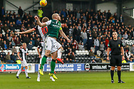 Cammy Smith of St Mirren & David Gray of Hibernian FC compete in the air during the Ladbrokes Scottish Premiership match between St Mirren and Hibernian at the Simple Digital Arena, Paisley, Scotland on 29th September 2018.