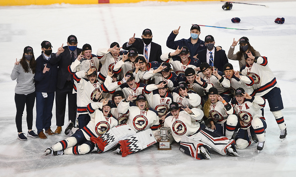 ERIE, PA - MARCH 06: The Robert Morris Colonials pose for a photo after defeating the Syracuse Orange 1-0 in the CHA Tournament Championship Game at the Erie Insurance Arena on March 6, 2021 in Erie, Pennsylvania. (Photo by Justin Berl/Robert Morris Athletics)